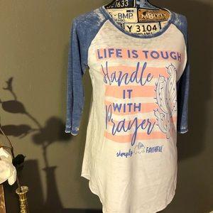 Simply Southern Simply Faithful 3/4 sleeve shirt